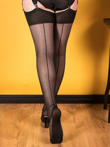 40 Denier Black Opaque Seamed Stockings