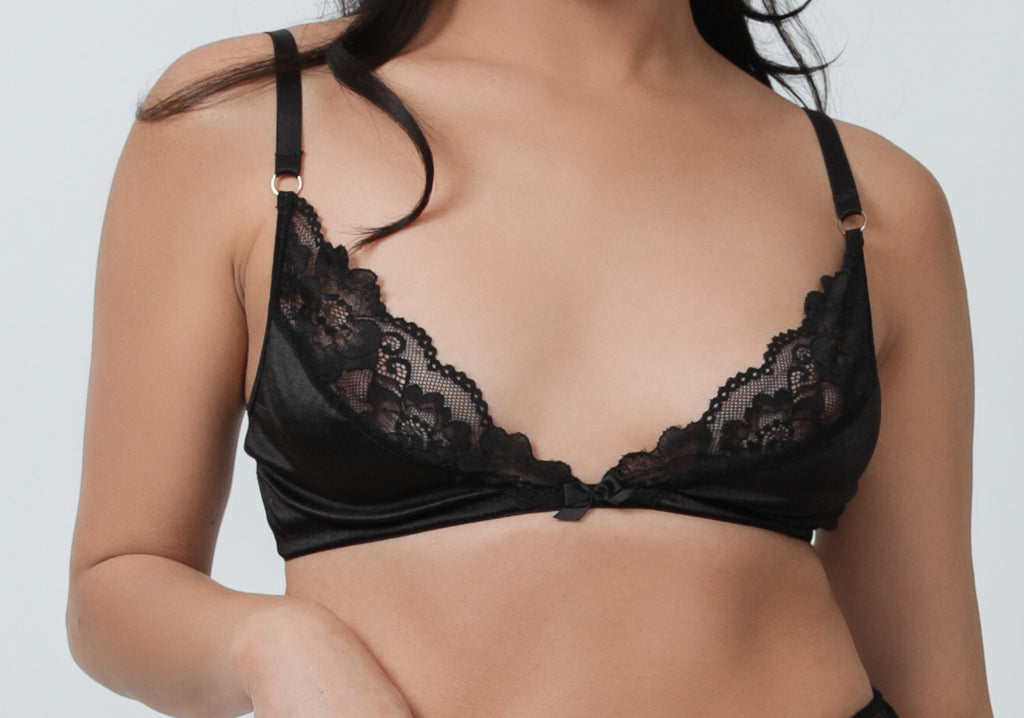 Black Satin + Lace Bralette - sizes S - XXXL