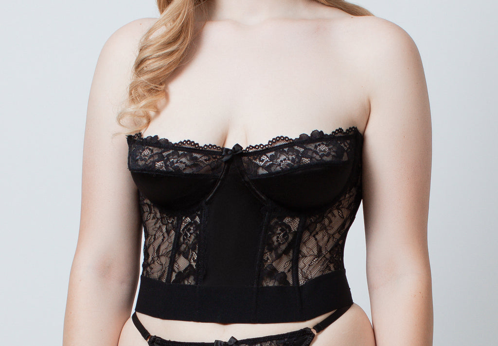 Black Satin + Lace Bustier - sizes S - XXXL