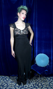 Lingerie by Debutante Black Cold Rayon and Lace Gown S/M/L #035