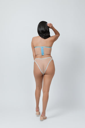 Blue Butterfly Embroidered High Leg High Waist Brief - sizes S - XXXL
