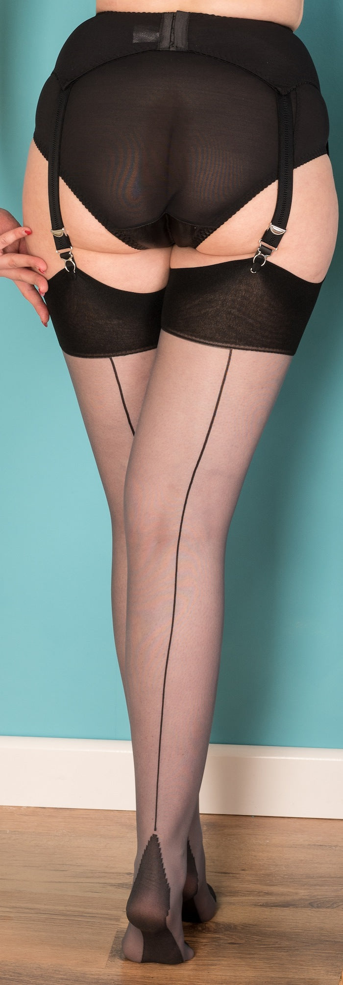 Black on Grey Glamour Seamed Stockings