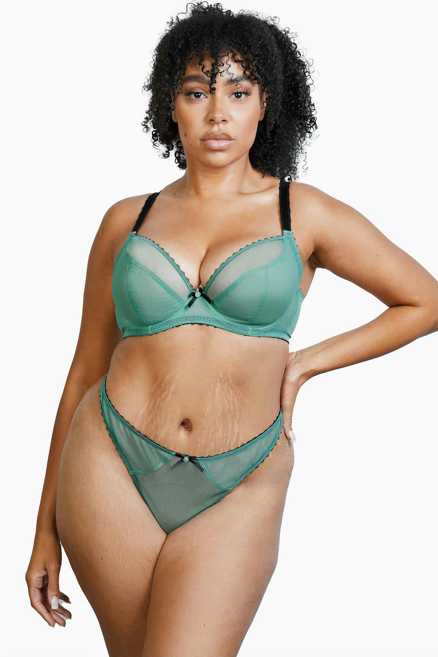 Deja Day Grace in Green Moss + Black Thong 4-16