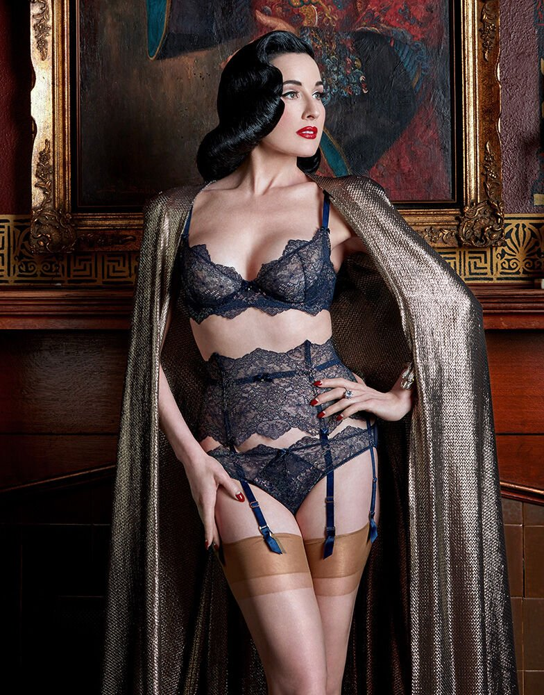 Dita Von Teese Lurex Lace Underwire Bra in Navy - select sizes 32-38 and DD-F left!