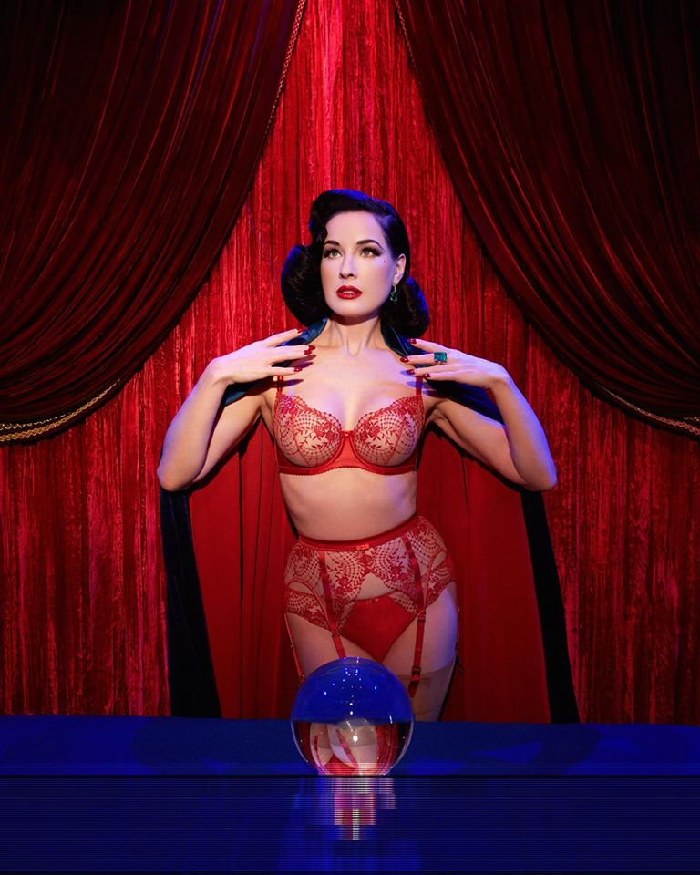 Dita Von Teese Julie's Roses Underwire Bra - select sizes 32D-34F/38DD left!