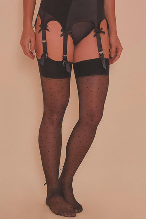 Dotty Seamed Stockings with Rosette Bow - Size 4-18