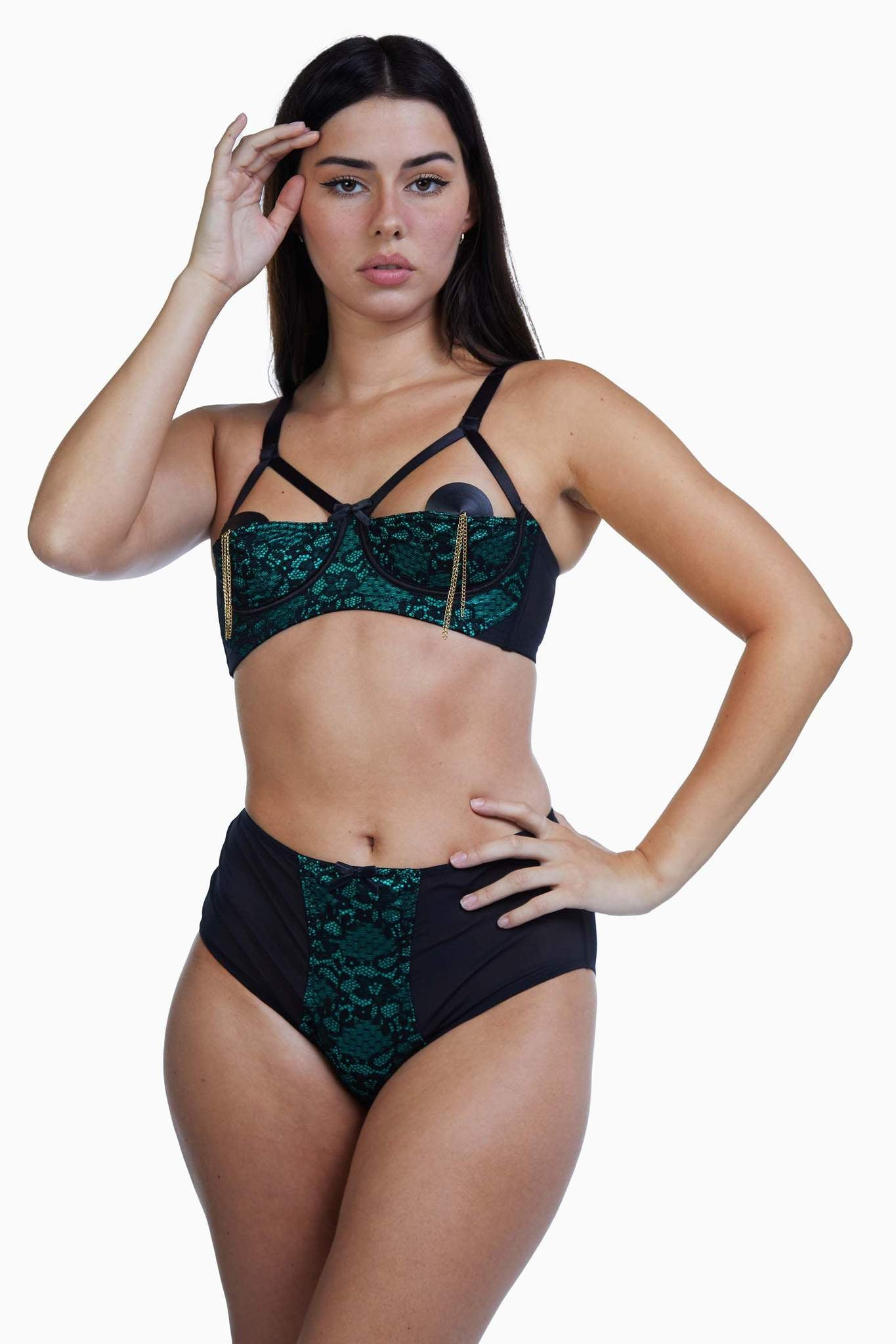 Elsie Emerald Green and Black Lace 1/4 Cup Bra - 32B, 34B, 34C +36F left