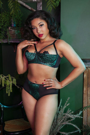 Elsie Emerald Green and Black Lace Knicker - size 4-14