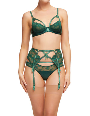 Dita Von Teese Madame X Garter Belt in Juniper - only one size L left!
