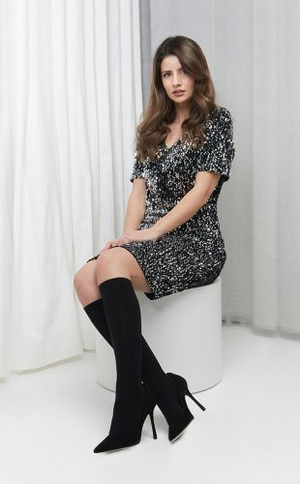 Lurex Knee-high Socks - Pearl + Black