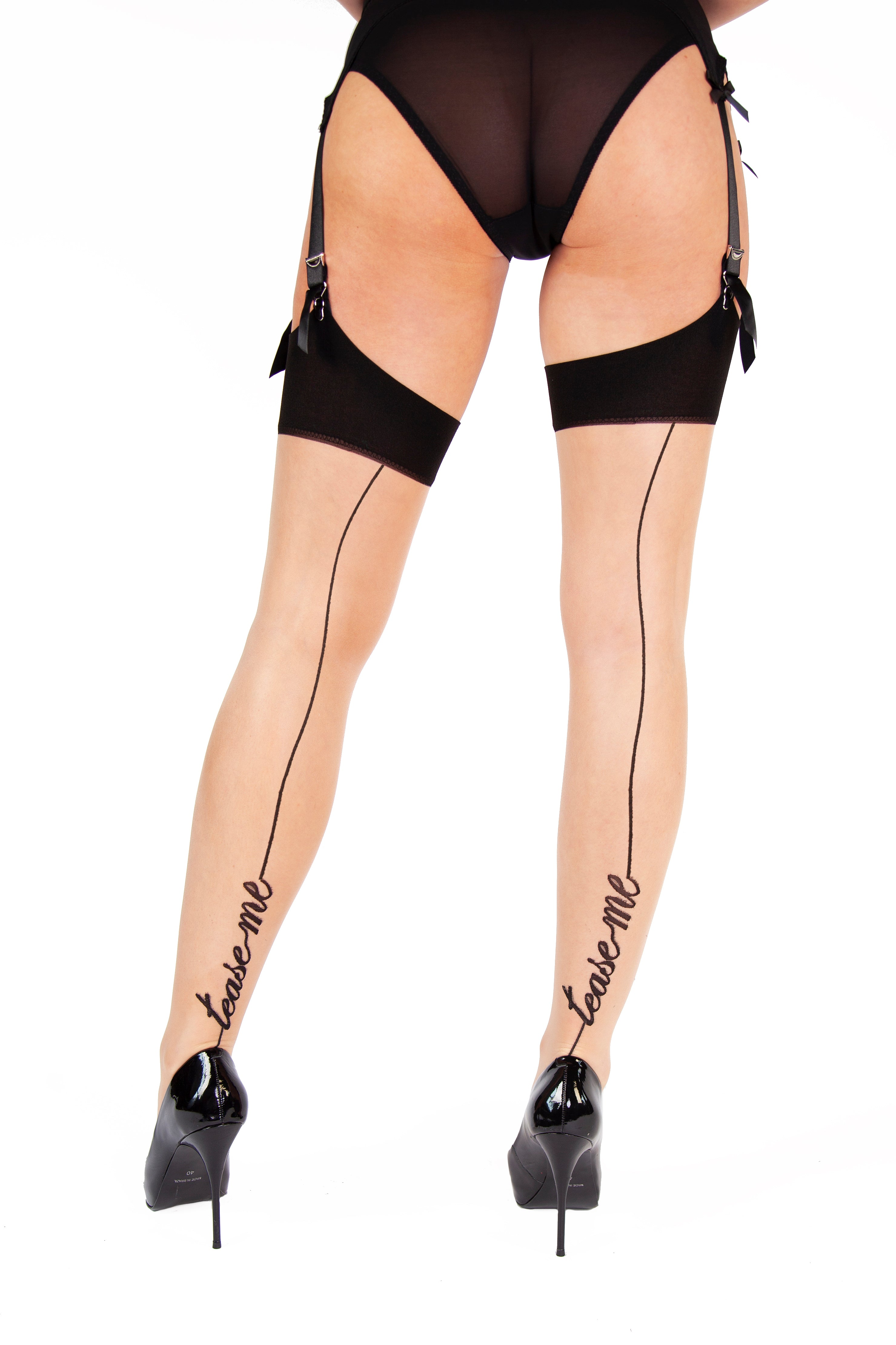 """Tease Me"" Seamed Stockings - Size 4-18"