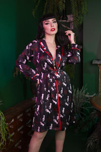Bettie Page Blaze Smoking Print Satin Robe - sizes 4-16