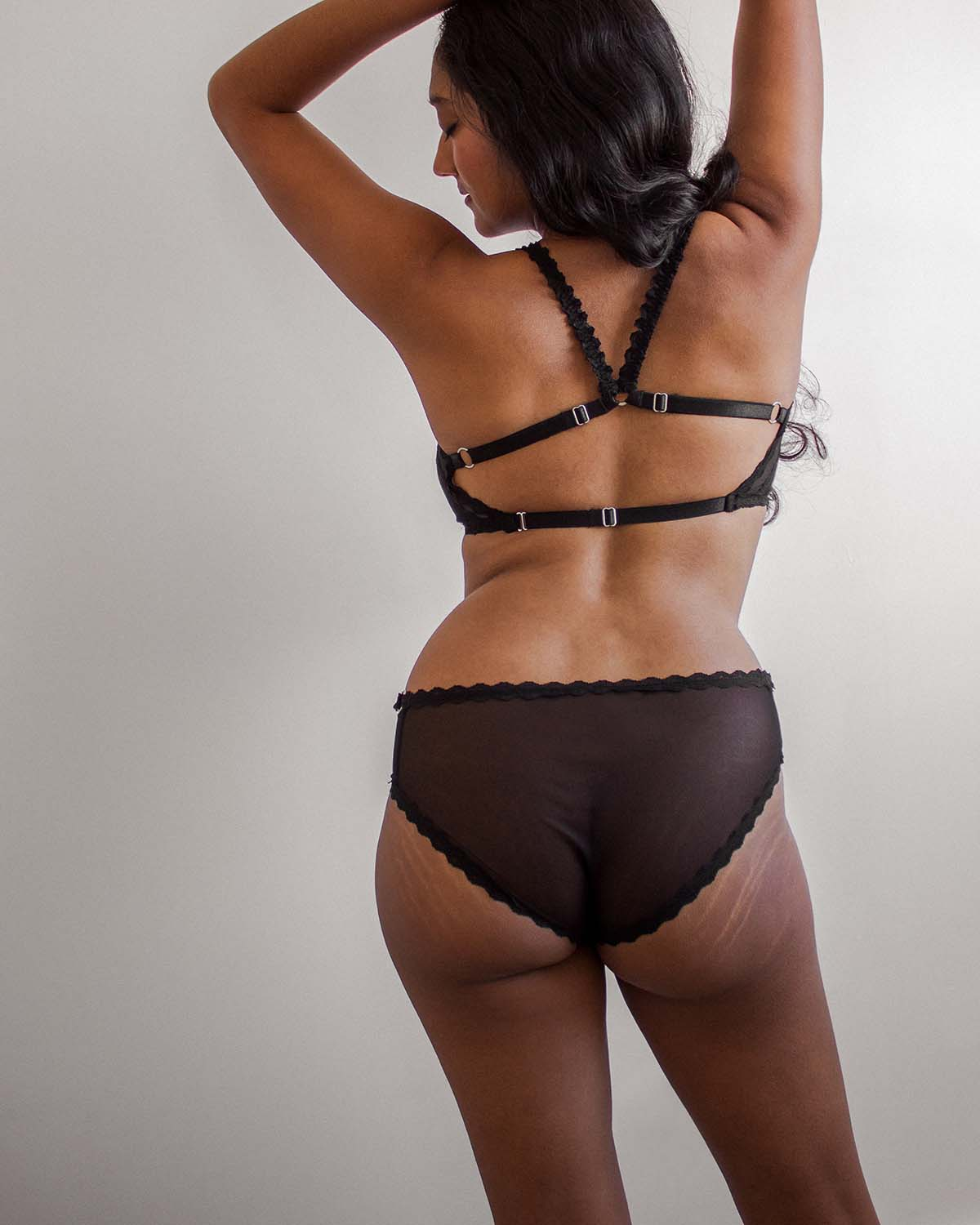 Black Strappy Sadie Panty - L/XL left!
