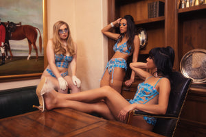 Blue Butterfly Embroidered Bustier - sizes M, XXL + XXXL left!