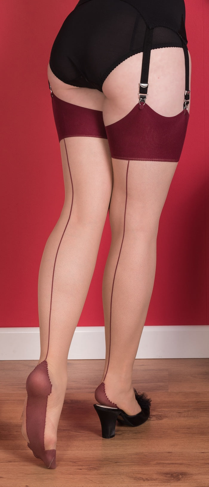 Glamour Stockings in Champagne with Claret Seams