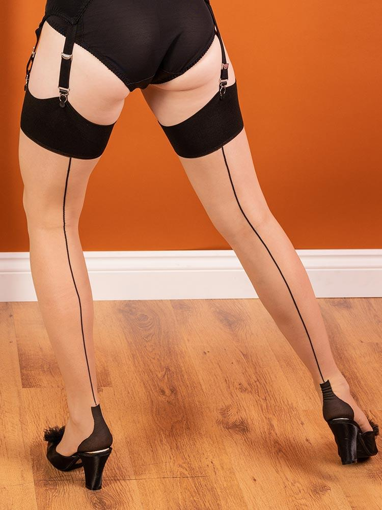 Cuban Heel Black on Champagne Glamour Stockings