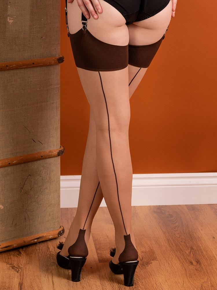 Cuban Heel Coffee on Champagne Glamour Stockings