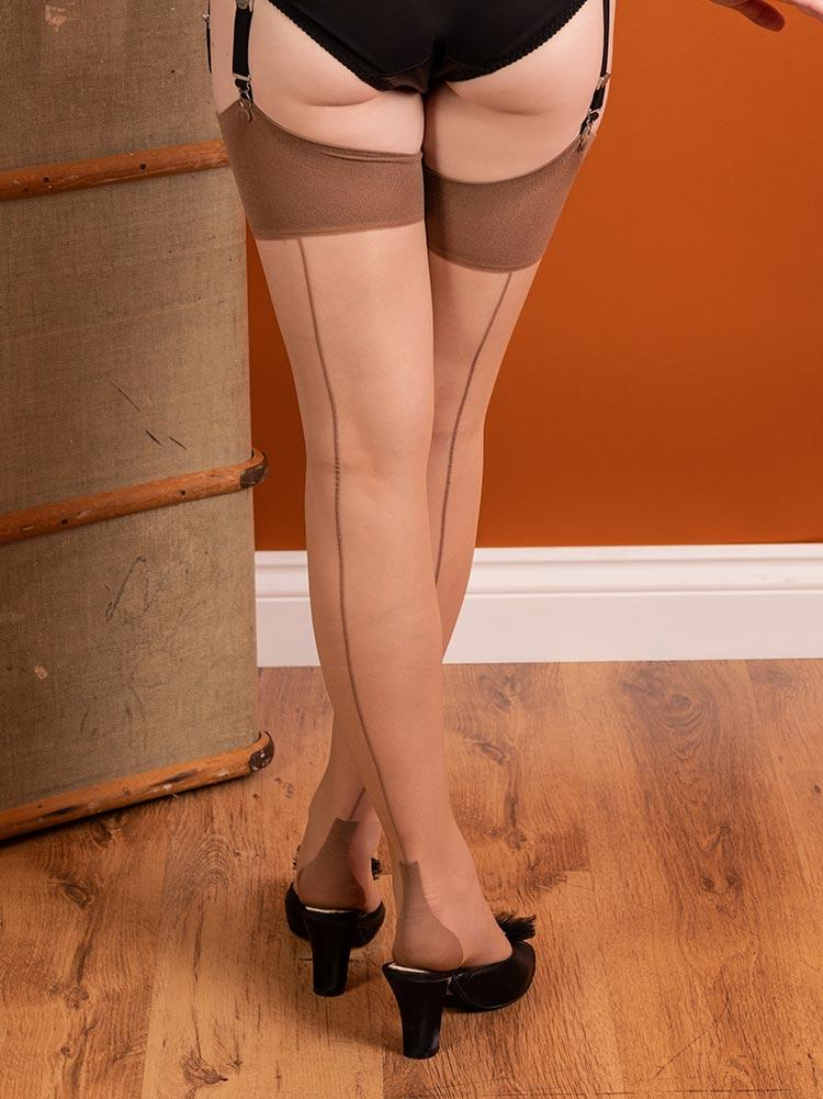 Latte on Champagne Glamour Cuban Heel Stockings