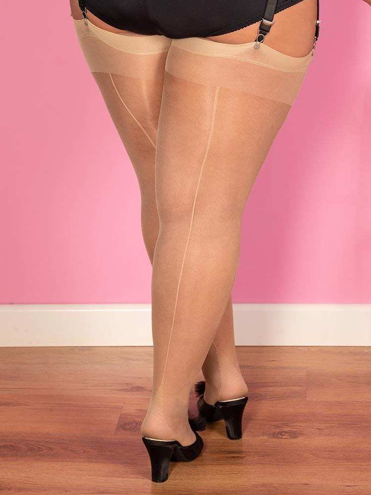 Curve: Champagne on Champagne Glamour Seamed Stockings