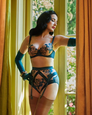 Dita Von Teese Rosabelle Thong in Shady Spruce - sizes XS-L