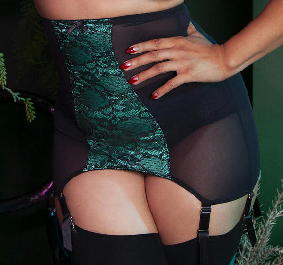 Elsie Emerald Green and Black Lace Girdle - sizes 4-8 left!