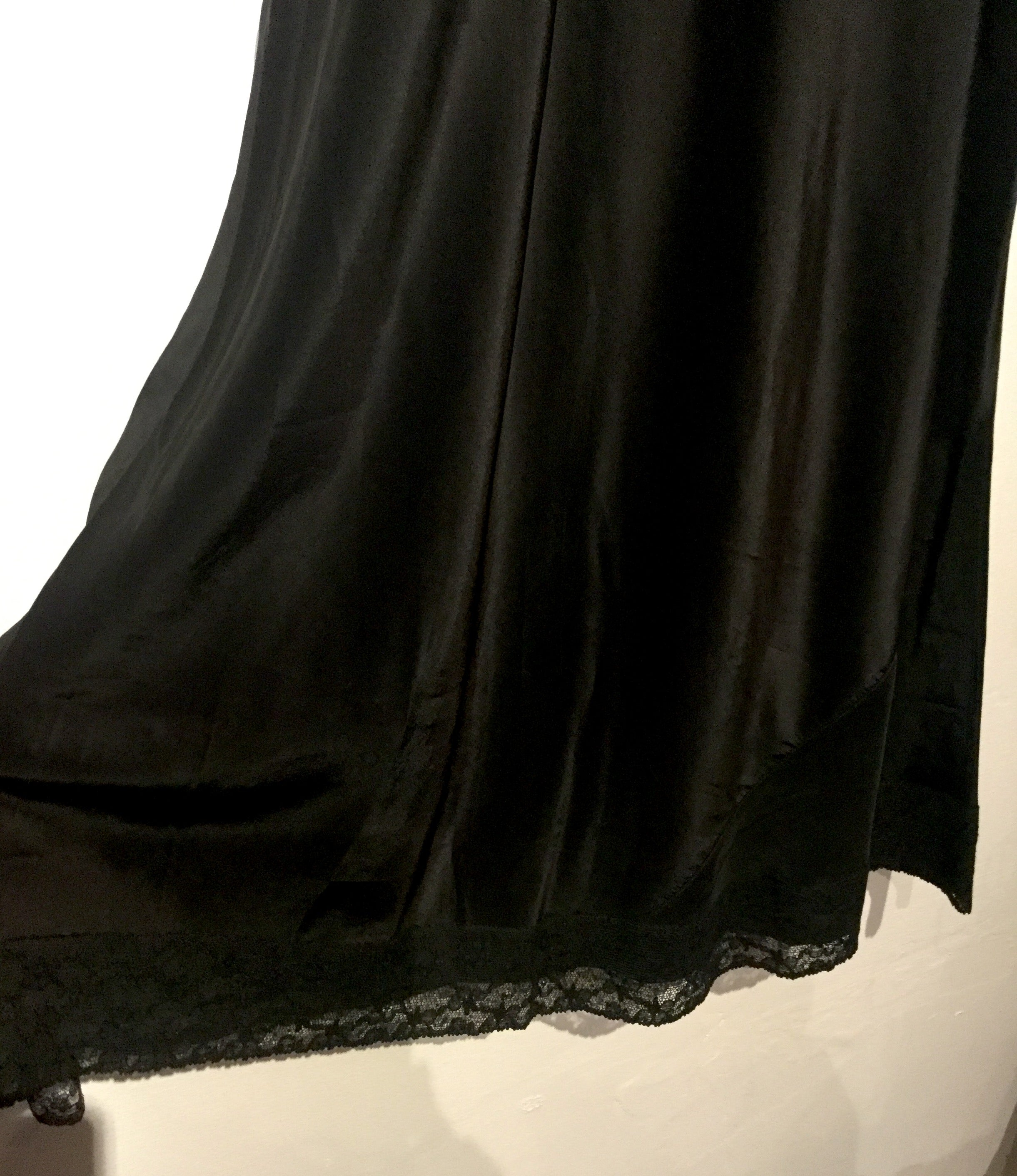 Rainbow Flower Embroidered Black Slip M/L #070