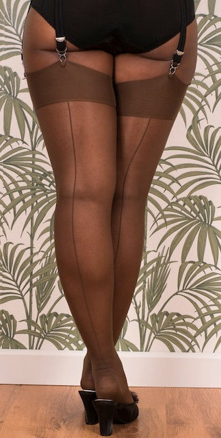 Glamour Stockings in Coffee with Coffee Seams