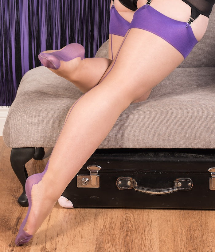 Glamour Stockings in Champagne with Purple Seams