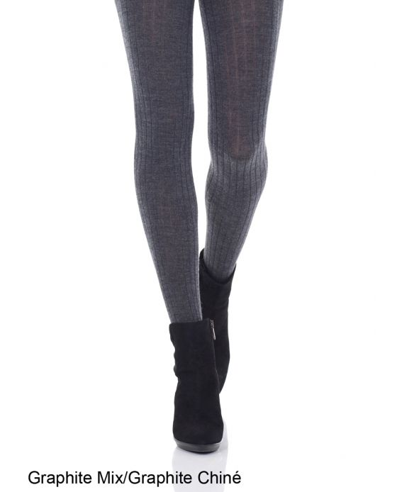 Merino Wool Ribbed Tights (Graphite + Black)