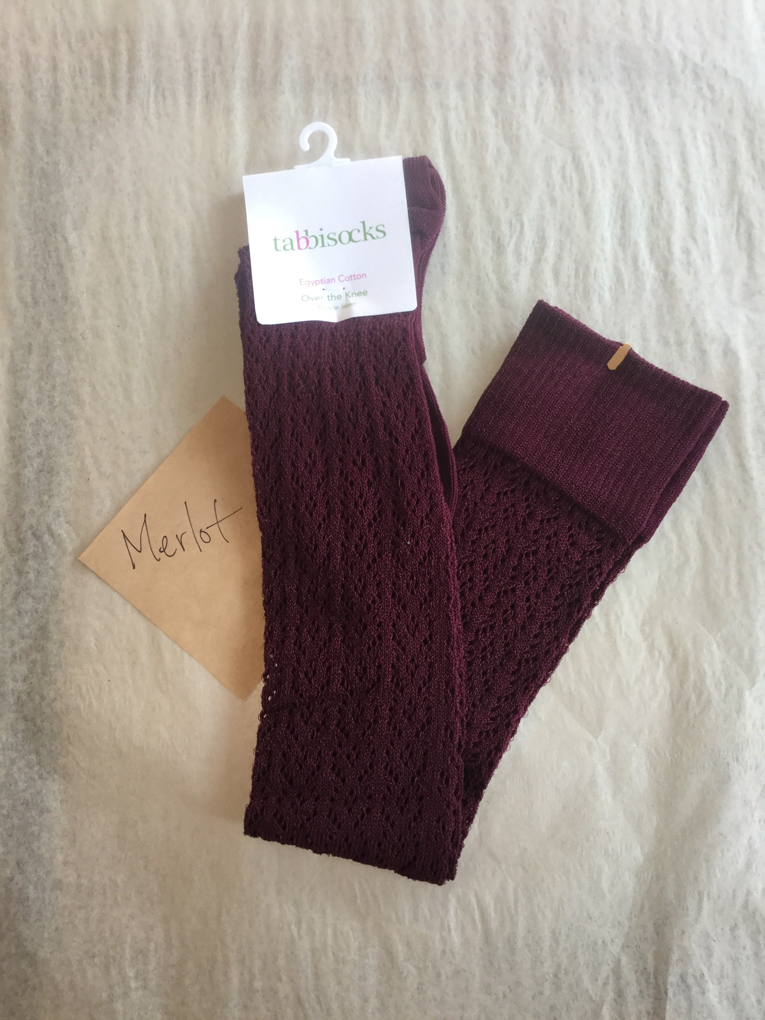 Crochet Egyptian Cotton OTK socks (Black + many other colours)