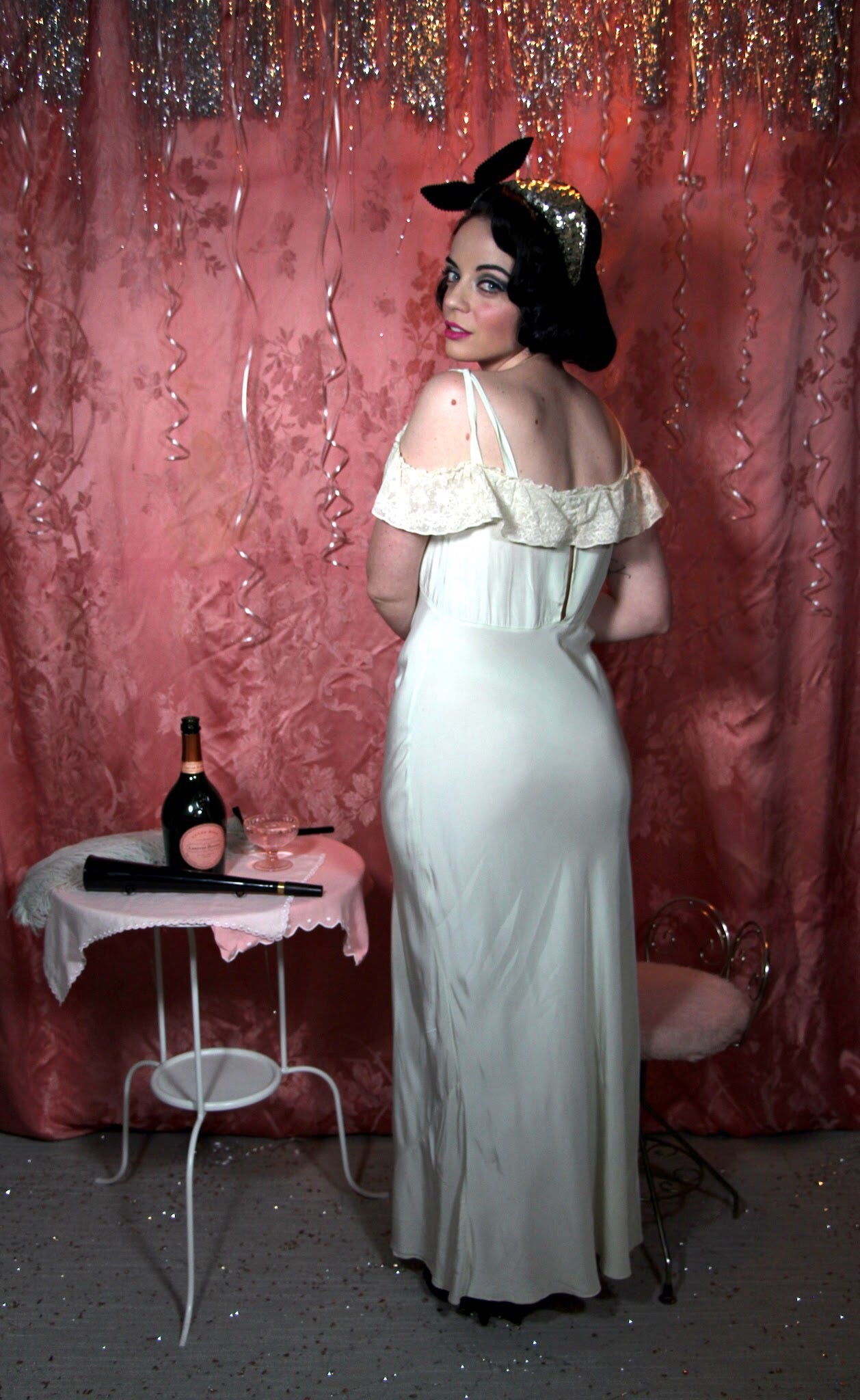 Pistachio off shoulder 1930's nightgown by Colleen Lingerie M/L #059
