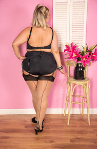 Curve: Black on Champagne Glamour Seamed Stockings