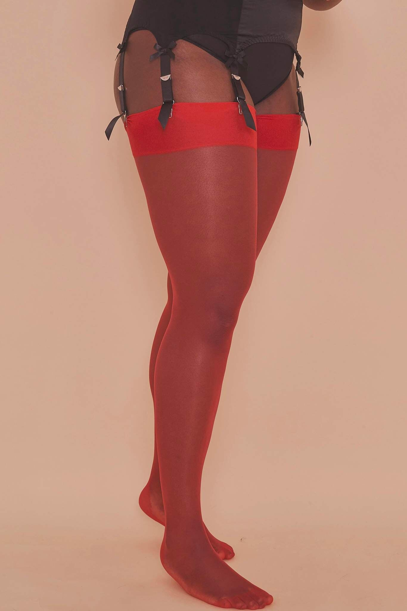 Lollipop Red Seamed Stockings - Sizes 4-18