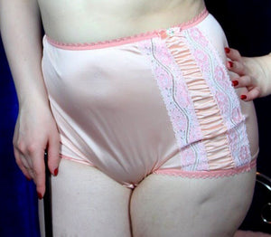 Peach Satin Pinup Brief