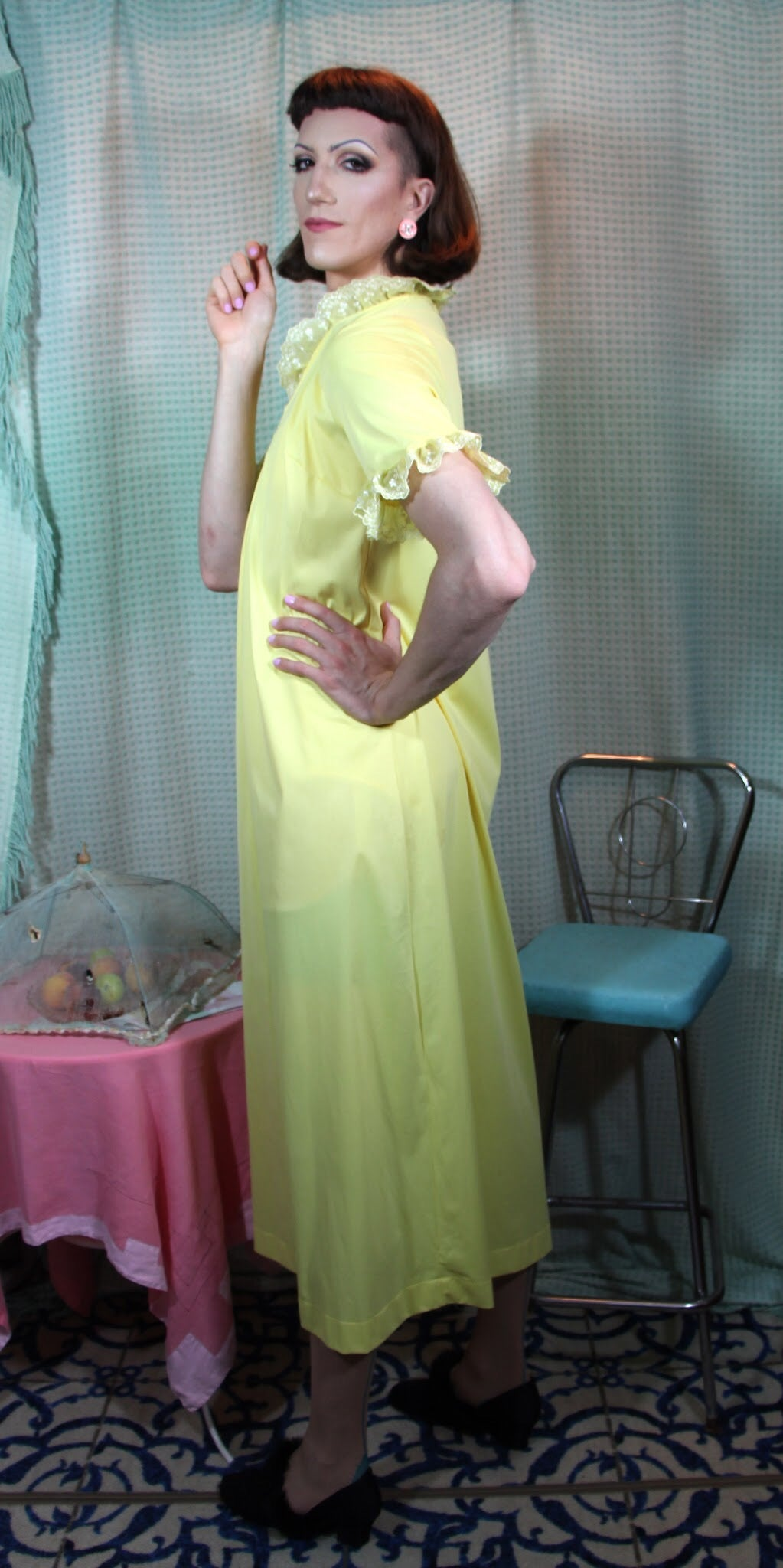 Sunny Yellow Nylon House Dress S/M+ #128