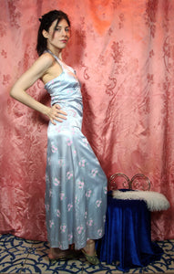 Icy blue floral gown with zipper! XS/S #045