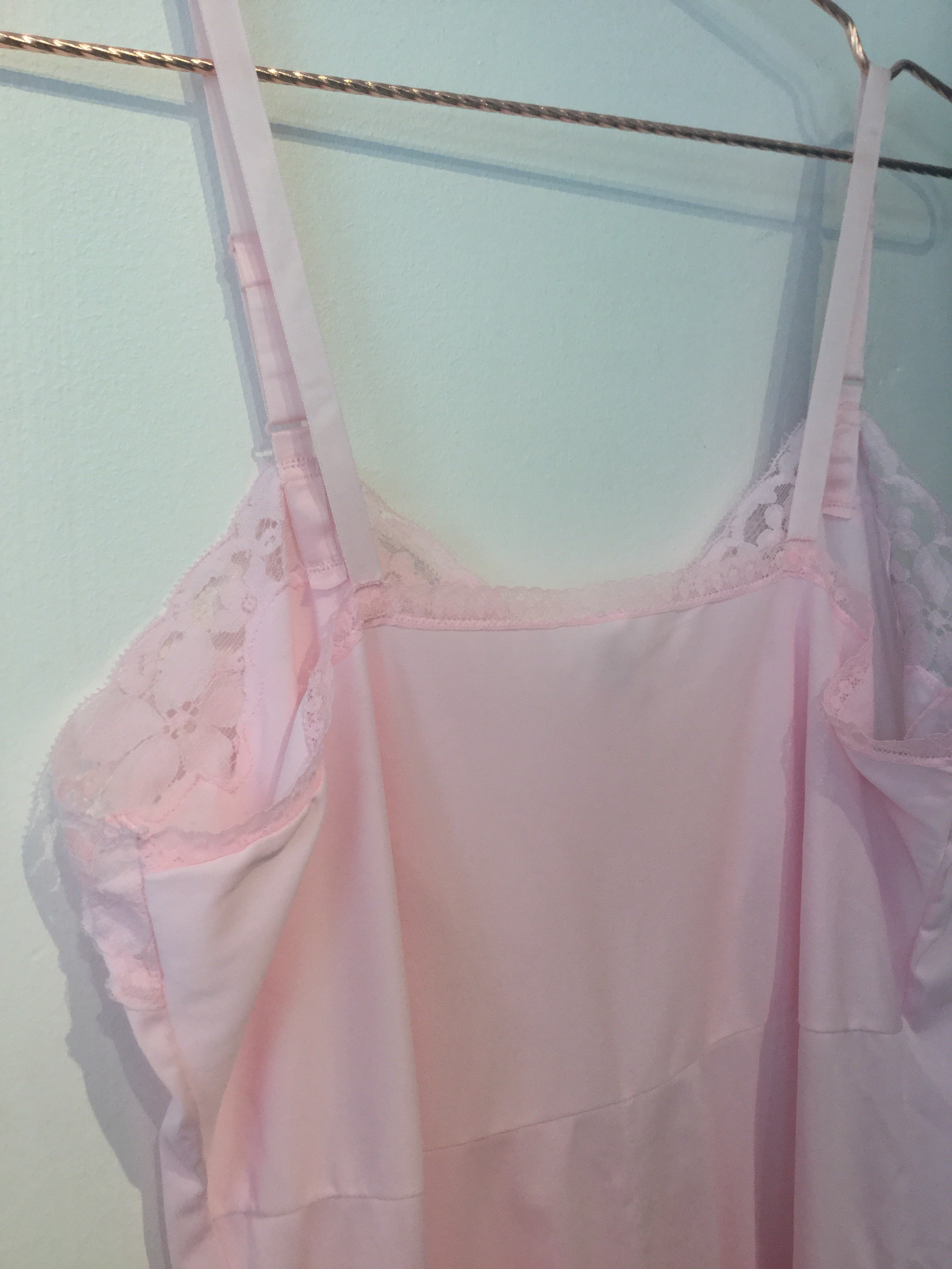 Pink Nylon Lace Slip by French Maid L/XL/XXL #107