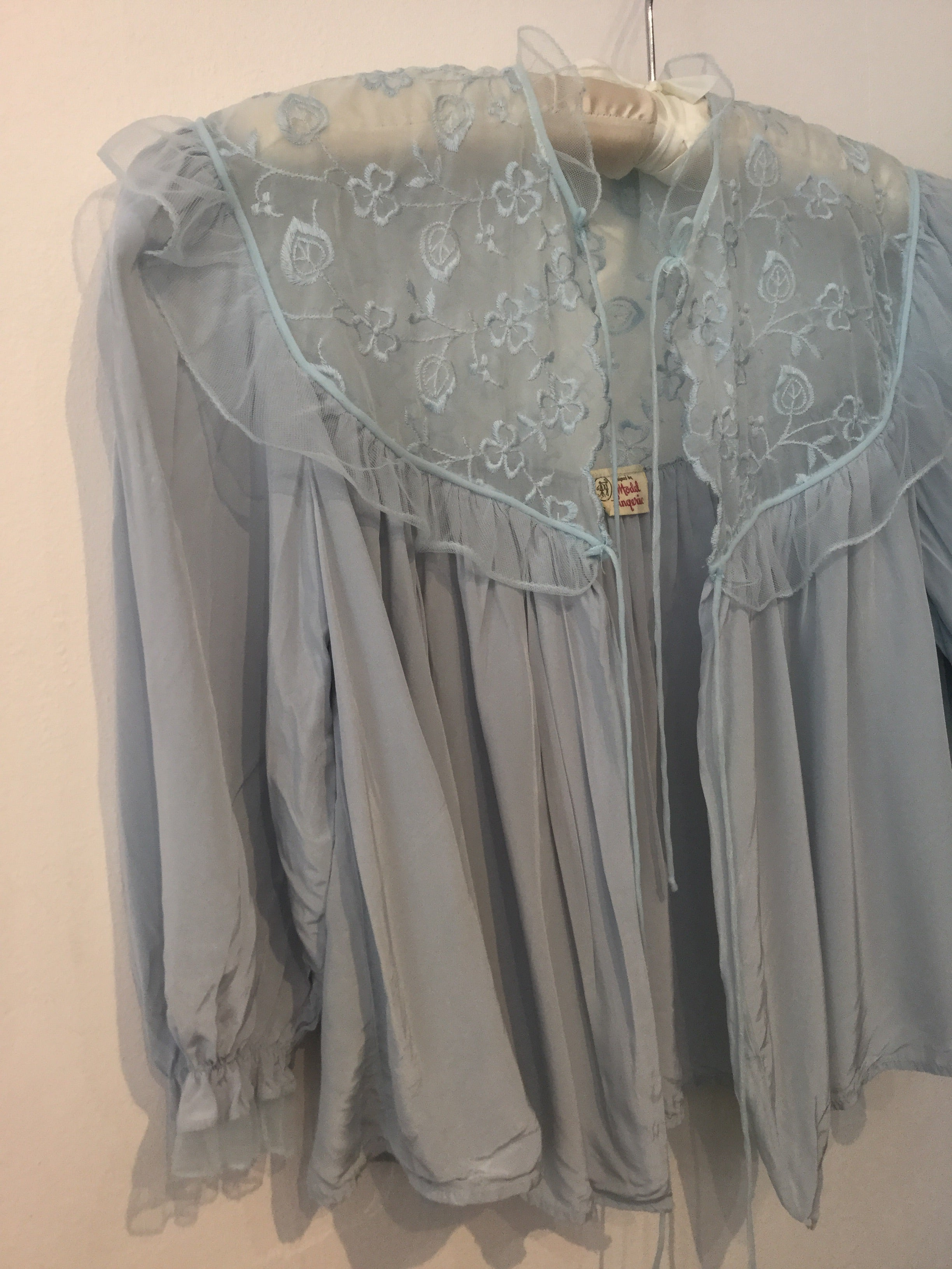 Cold Rayon Powder Blue Bedjacket S/M #123