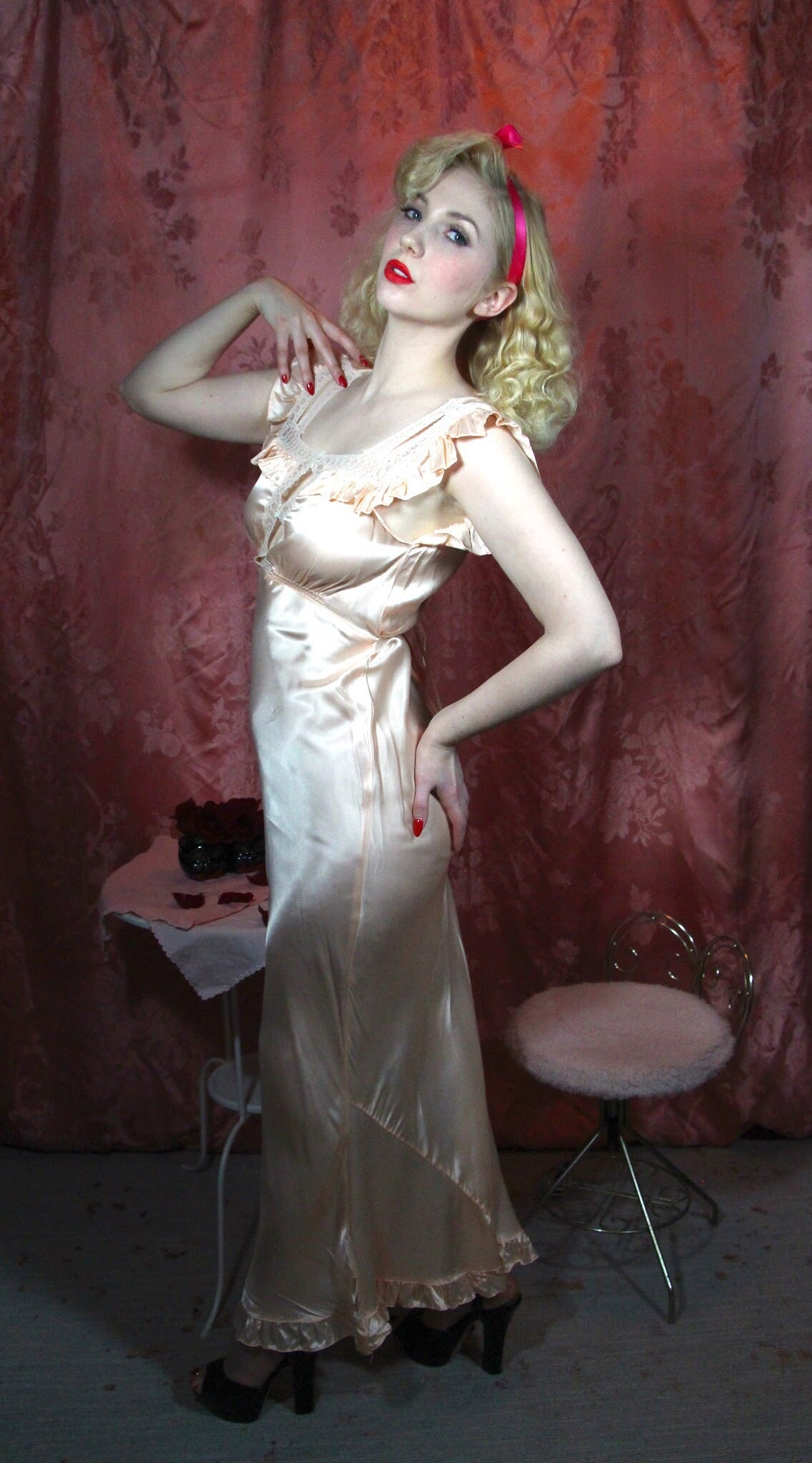 Miss D Benay 1930's Satin Nightgown 32/S #061