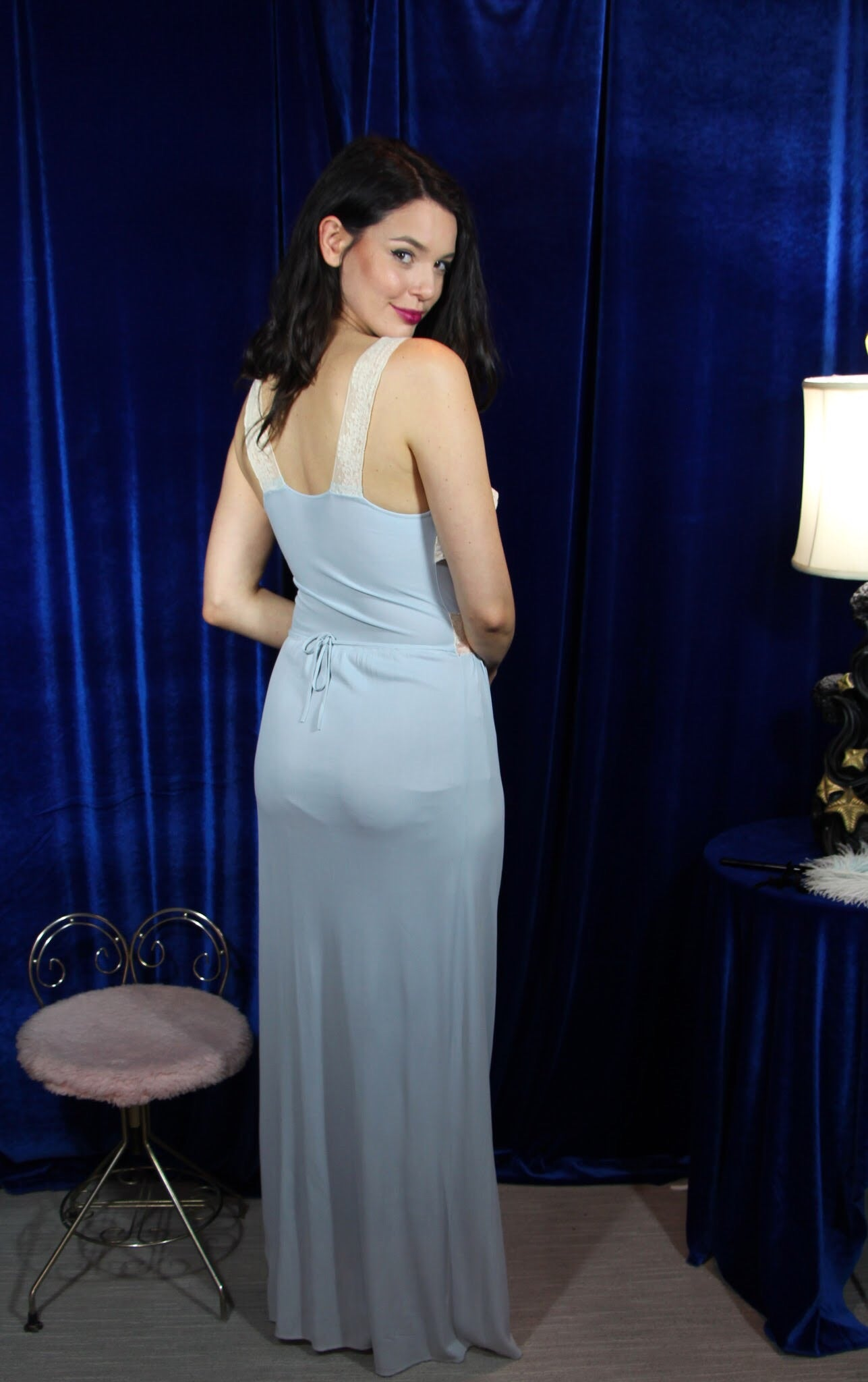 Pretty Blue Lace Jersey Gown by Fantasy  S/M #086