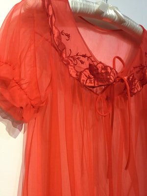 Bright Red Peignoir XS/S/M #158