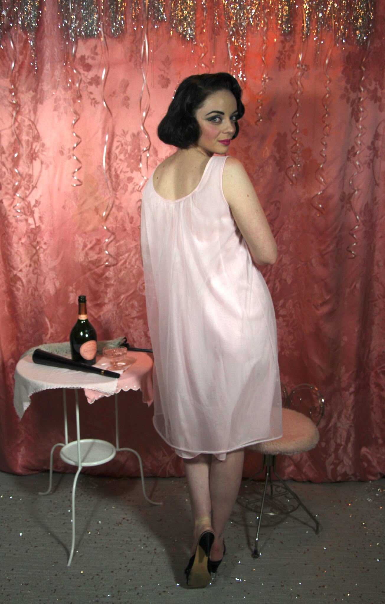 Pink and silver Babydoll M/L #057