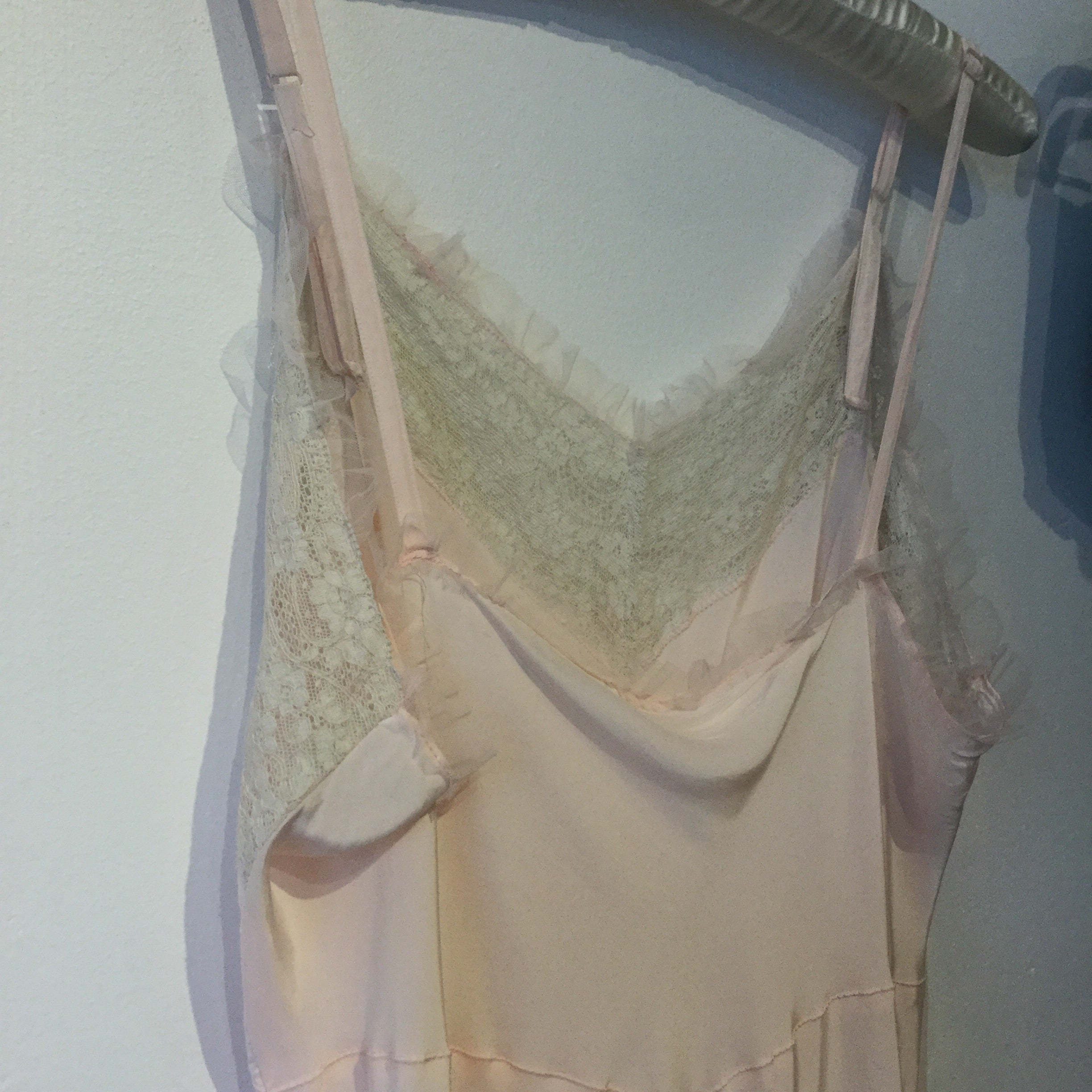 Pink Tulle Ruffle and Lace Slip XL #096