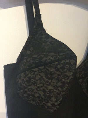 Black Lace Corselette Body Girdle - Plus - Fits 40E/F - 48C/B