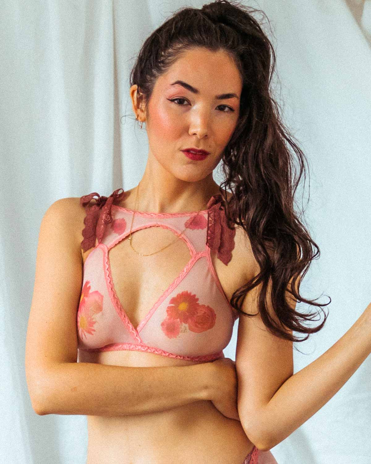 Flora Mirage Printed High Neck Bralette - 28A-42H