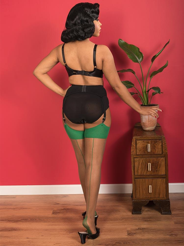 Green on Nutmeg Glamour Seamed Stockings