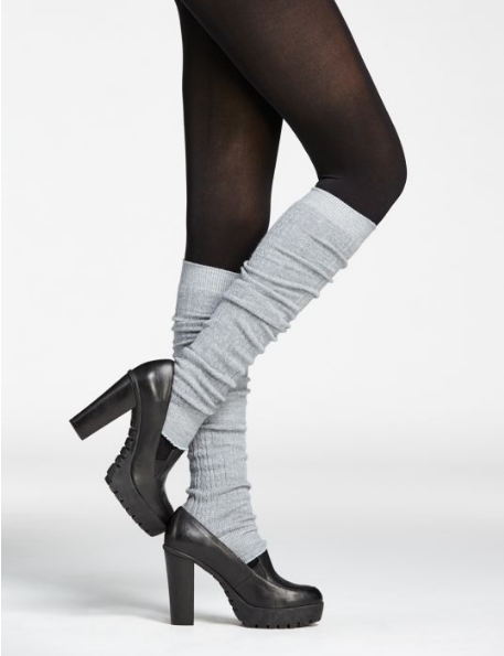 Merino Wool Legwarmers in Graphite + Light Grey + Black