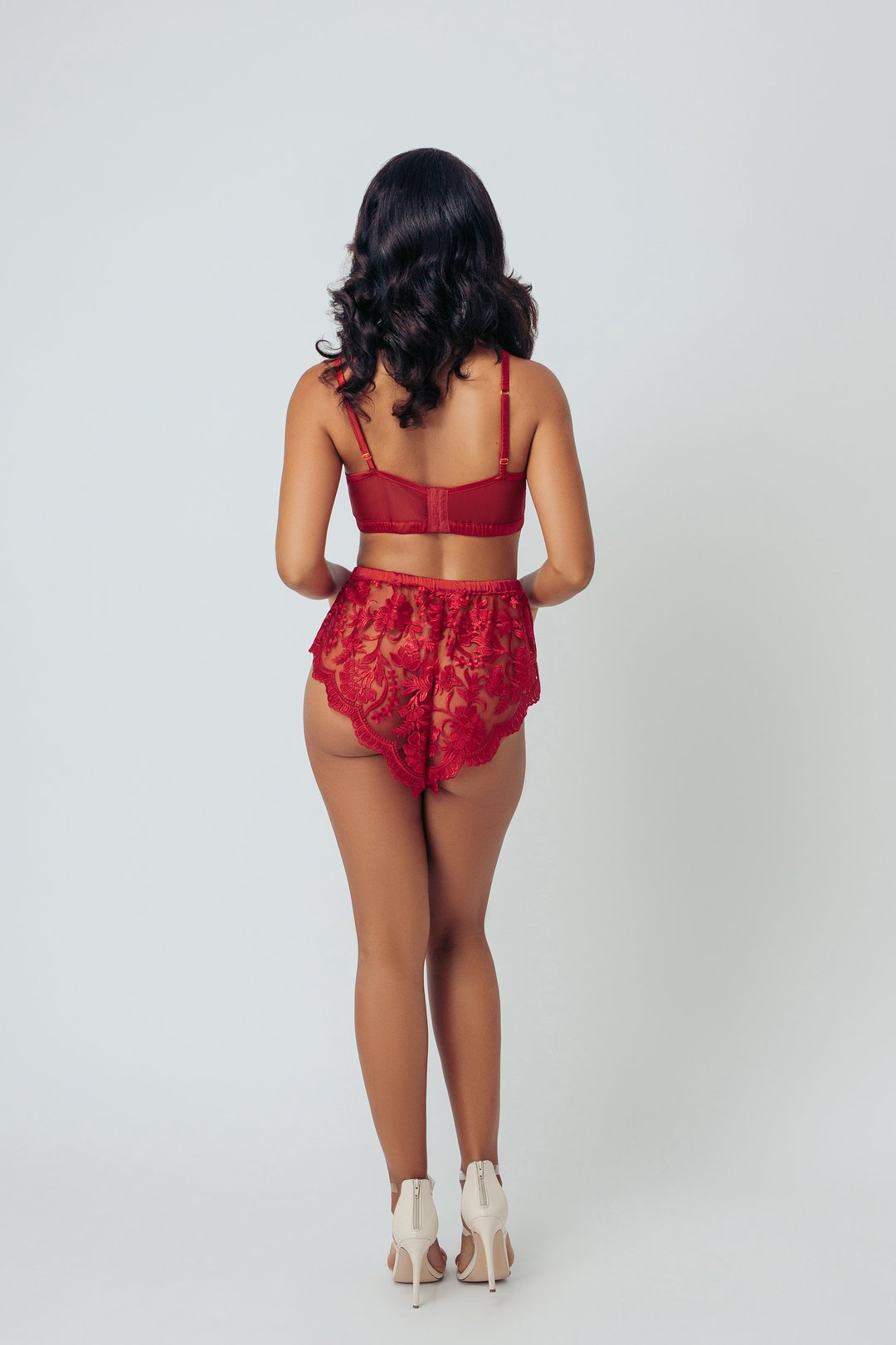 Lipstick Red Ebroidered Tap Shorts - S-3X