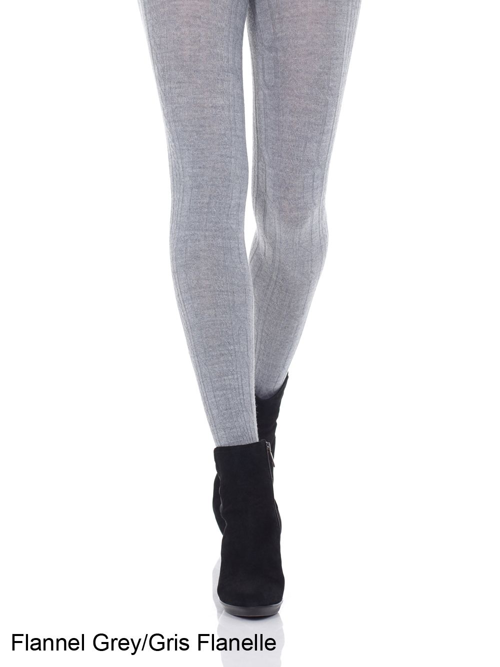 Merino Wool Cable Tights (Black and Light Grey)
