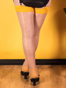 Mustard on Champagne Glamour Seamed Stockings